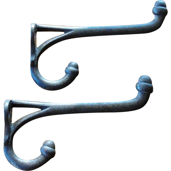 Two Antique Cast Iron Double Coat Hat Hooks