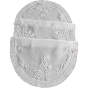 Vintage White Linen Runner with White Embroidery