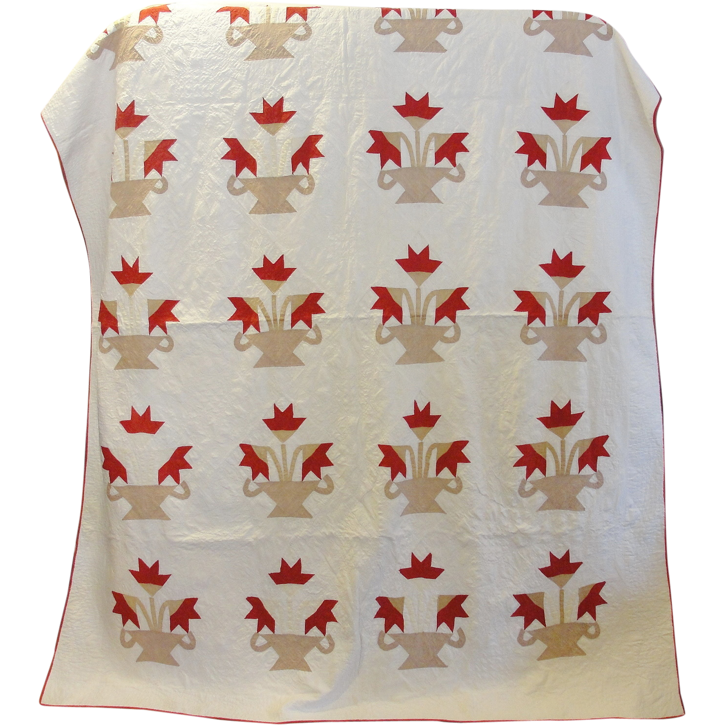 Vintage Basket Of Flowers Quilt From Breadandbutter On