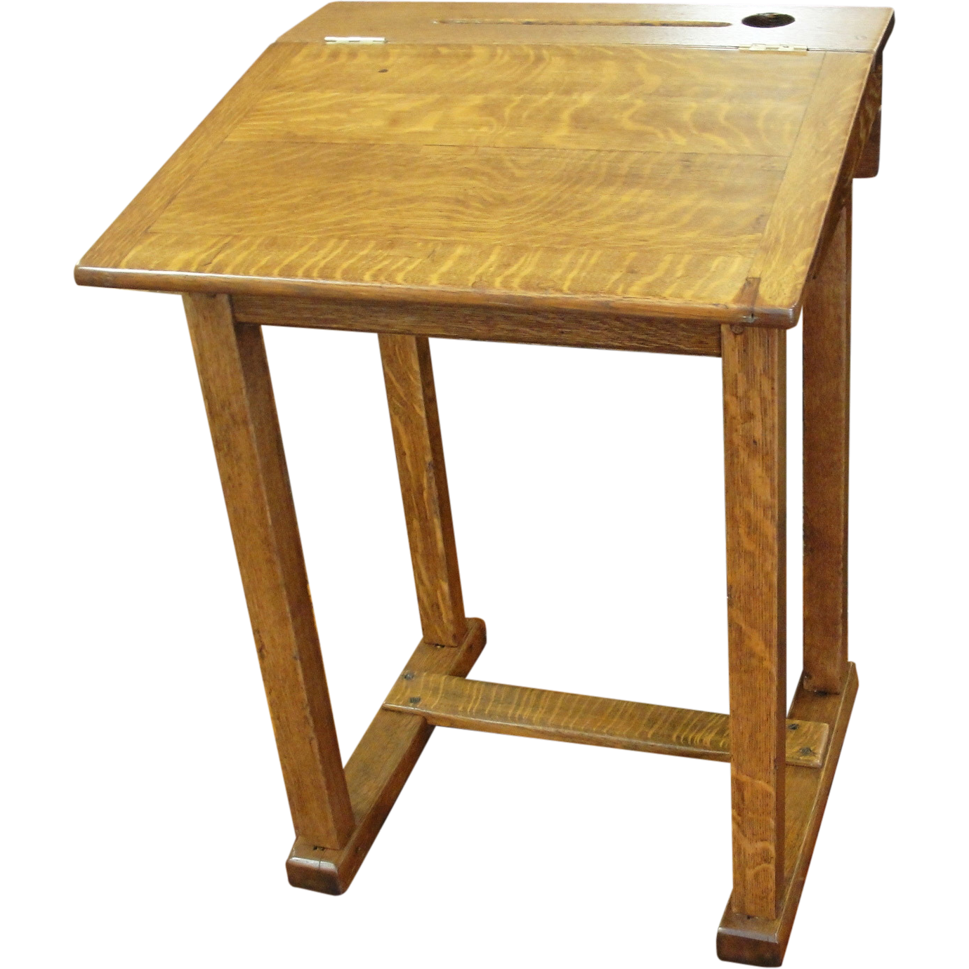Vintage Oak School Desk Converts from Flat to Slant Top
