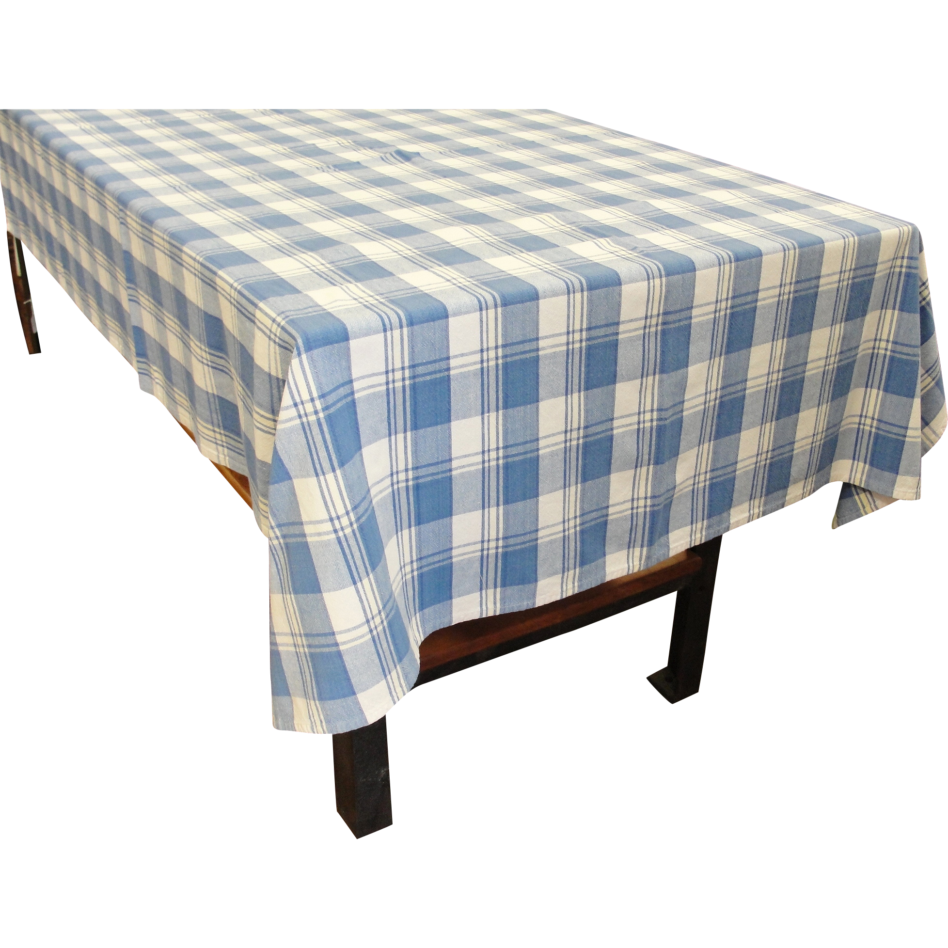 vintage cotton blue and yellow plaid tablecloth 76 x 54 sold on ruby lane. Black Bedroom Furniture Sets. Home Design Ideas
