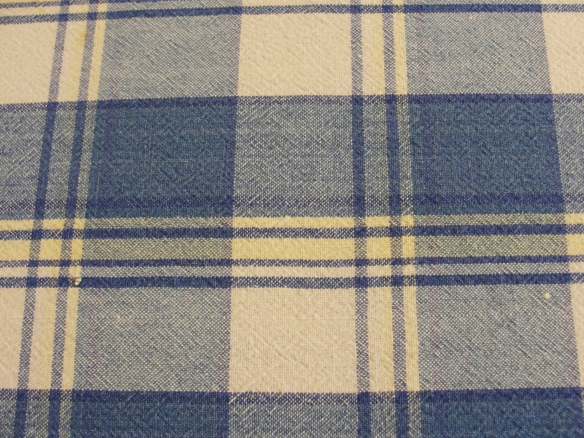 Vintage Cotton Blue And Yellow Plaid Tablecloth 76 X 54