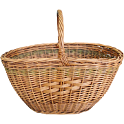 Vintage Hand Woven Gathering Basket with Handle