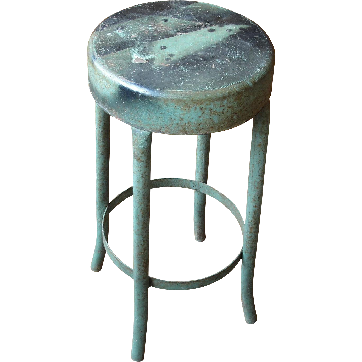 Vintage Industrial Salvage Green Metal Stool  sc 1 st  Ruby Lane & Vintage Industrial Salvage Green Metal Stool from breadandbutter ... islam-shia.org