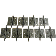 Antique Victorian Ornate Cast Iron Door Hinges with Steeple Tips 3 ½ by 3 ½