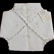 Vintage Linen Madiera Embroidery Hot Rolls Bread Basket Liner Unused