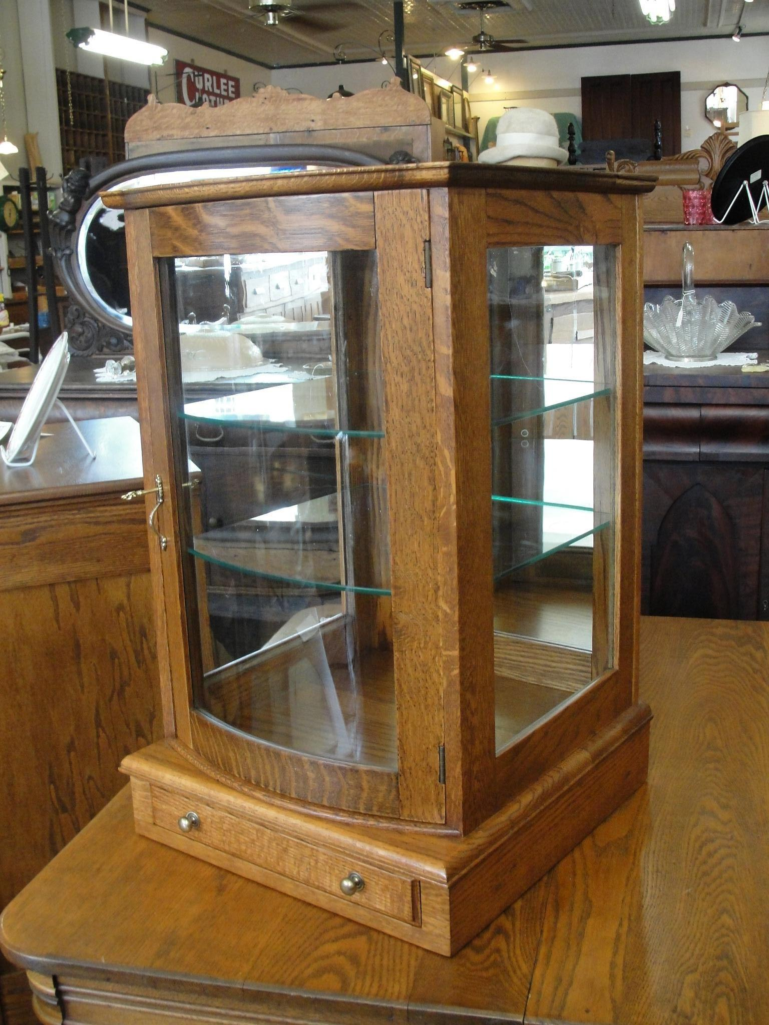 Small Oak Table Top Display Case With Curved Glass Door