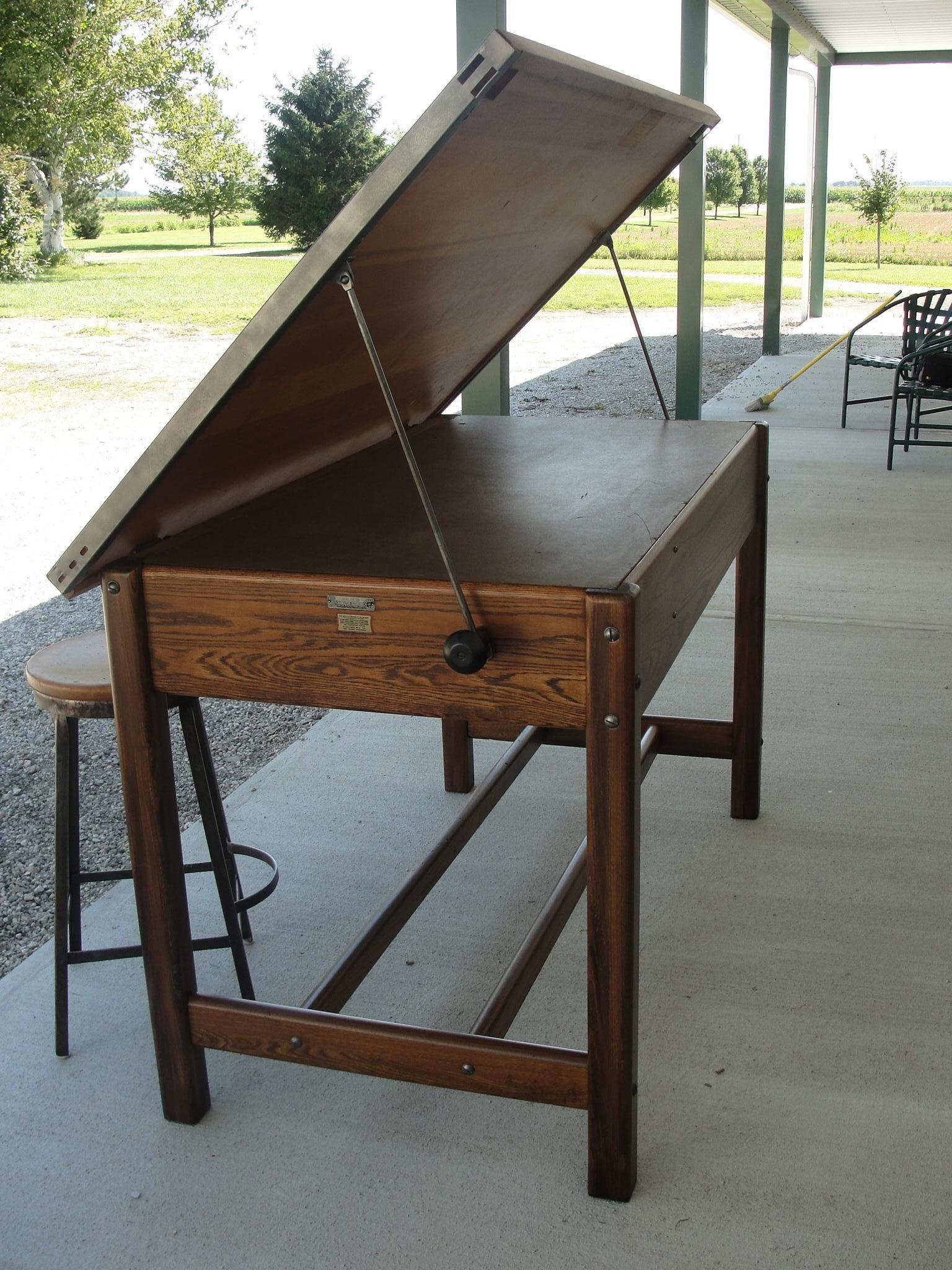 Vintage Industrial Hamilton Drafting Table Kitchen Island from