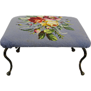 Vintage Petite Size Needlepoint Footstool