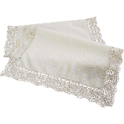 Vintage White Linen Runner with Lace Edge TLC