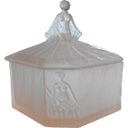 Art Deco Ramses Pink Satin Glass Powder Jar with Nude Woman