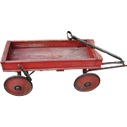 1920's Child's Red Wooden Coaster Wagon