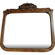 Antique Oak Frame Mirror with Hand Carved Accents