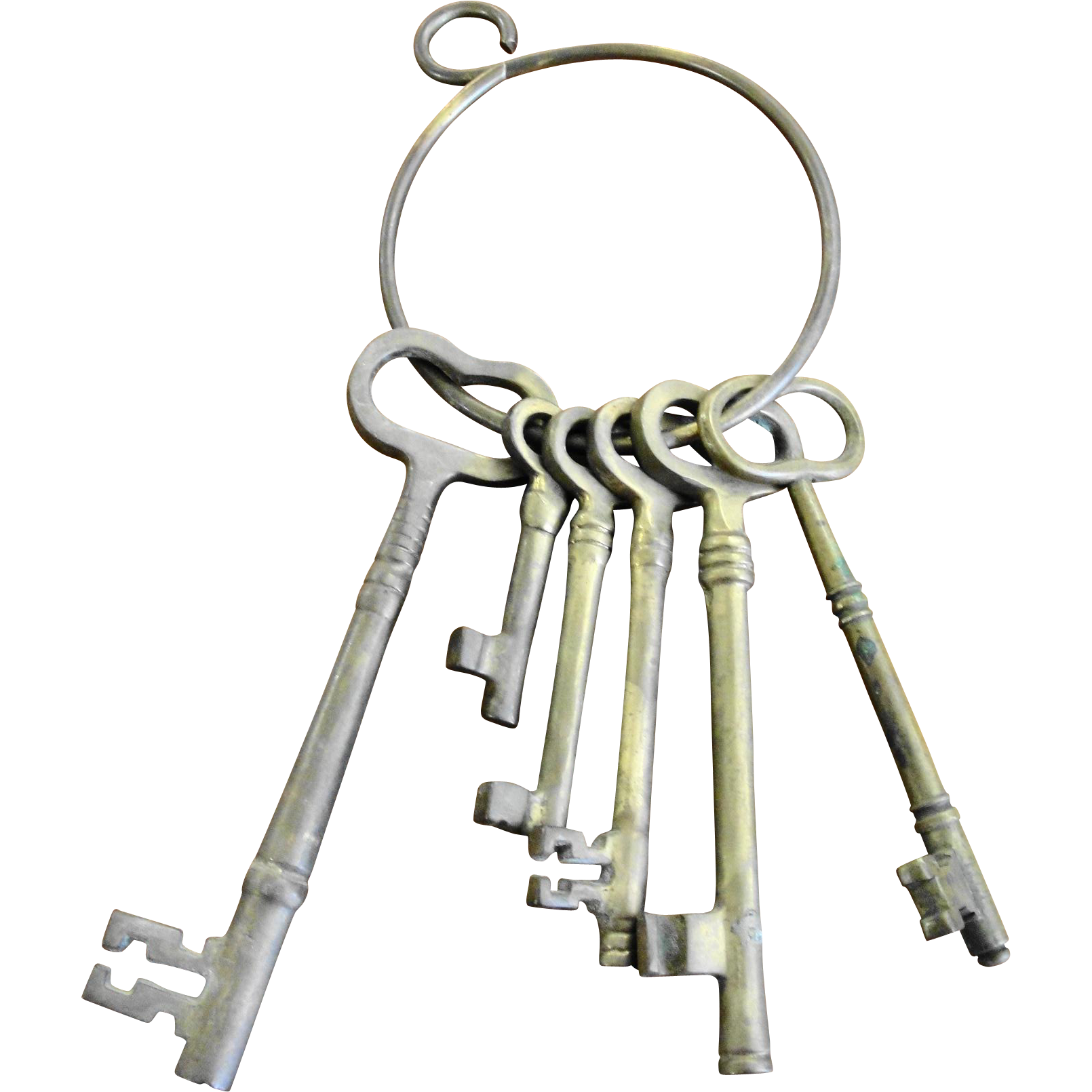 Set of Six Heavy Brass Keys on Ring