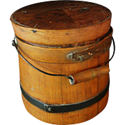 Small Primitive Wooden Firkin Bucket