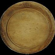 Primitive Round Wooden Bread Board Carved Wheat Design