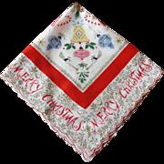Christmas Handkerchief Hanky Hankie 1960's