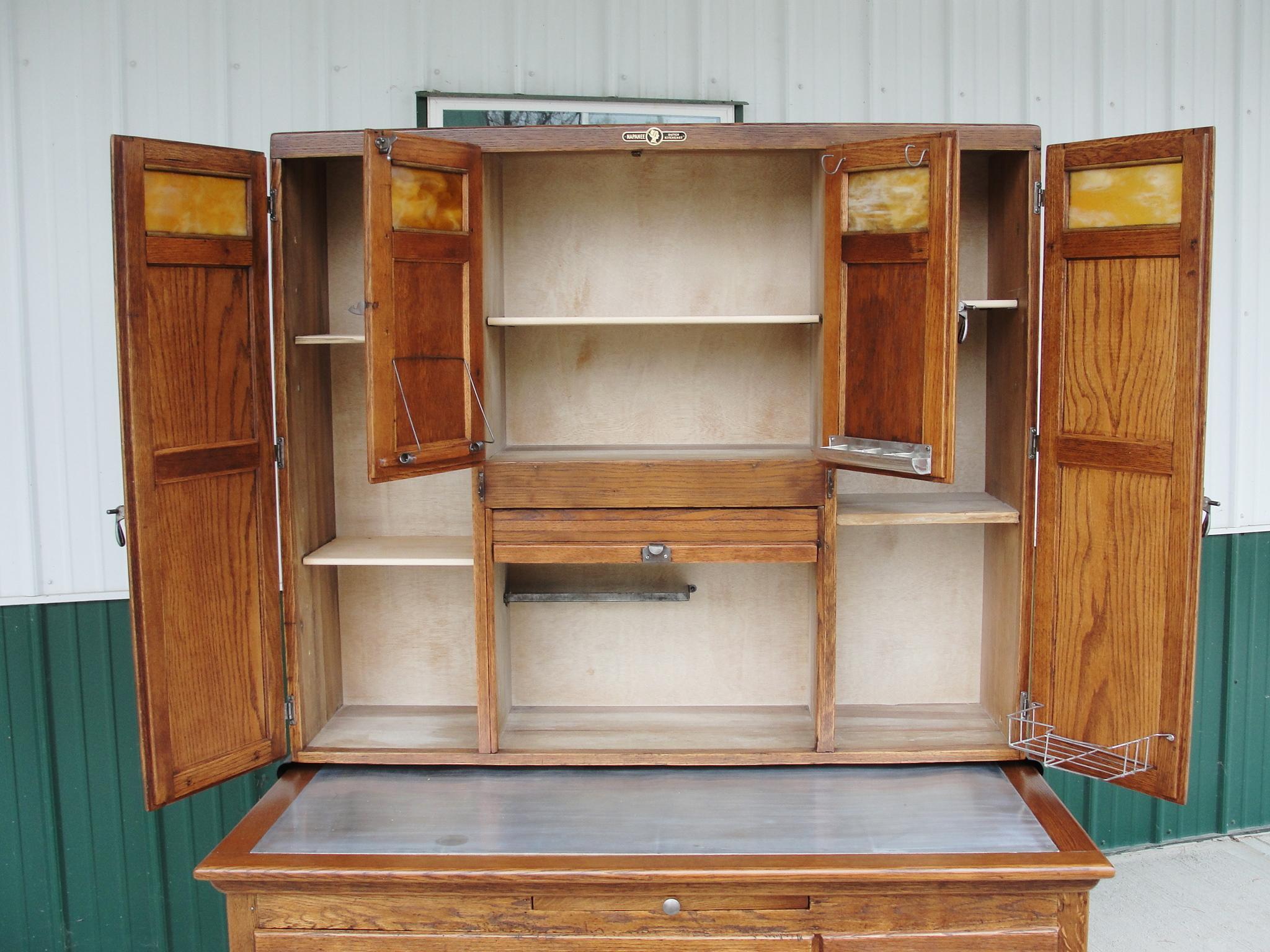vintage napanee oak kitchen cabinet from breadandbutter on ruby lane