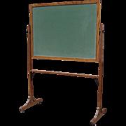 Vintage Oak Frame Standing School House Chalk Board