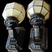 Pair Vintage Cast Iron Porch Light Fixtures