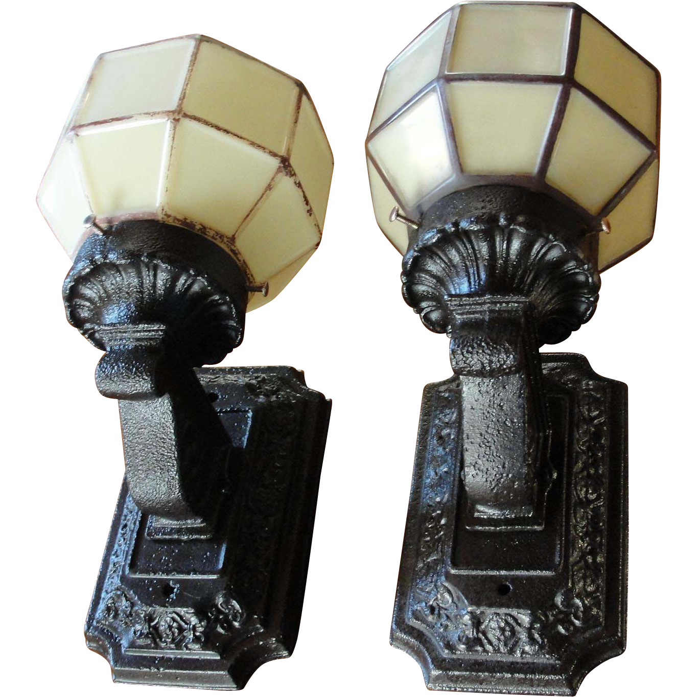 Great Pair Vintage Cast Iron Porch Light Fixtures : Bread U0026 Butter Antiques LLC |  Ruby Lane
