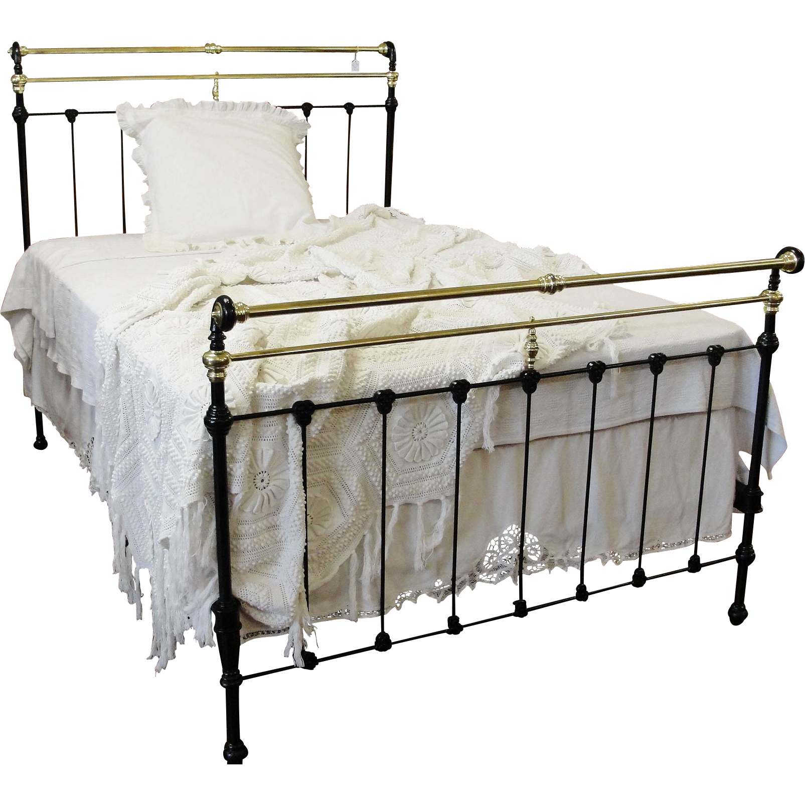 Late 1800 S Black Cast Iron And Brass Full Size Bed From