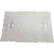 Vintage Linen Centerpiece Cutwork Hand Embroidery