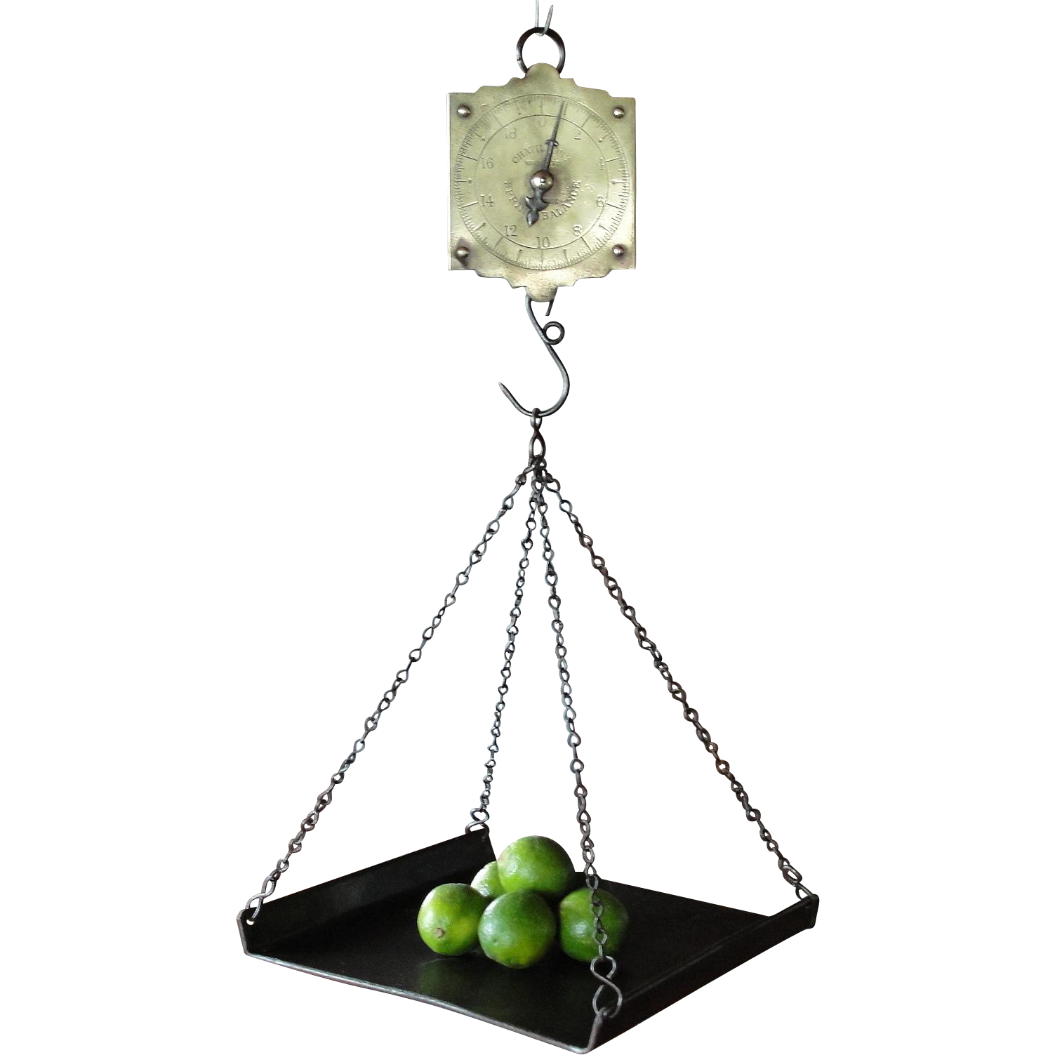 Primitive furniture - Hanging Country Store Spring Balance Scale With Weighing