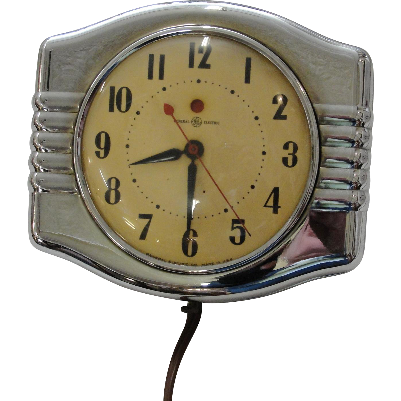 Vintage General Electric Chrome Art Deco Wall Kitchen Clock : Bread U0026  Butter Antiques LLC | Ruby Lane