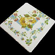 Vintage Floral Linen Tablecloth 50 x 52