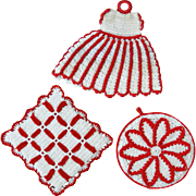 Three Vintage Red & White Crocheted Kitchen Pot Holders - Red Tag Sale Item