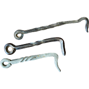 Set of Three Vintage Hand Wrought Twisted Barn Gate Hooks