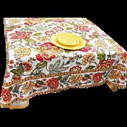 Vintage Floral Tablecloth 58 x 56