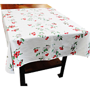 Vintage Wilendur Cotton Tablecloth Bright Red Cherries 50 x 54