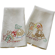 Two Linen Towels Mexican Theme Hand Embroidery - Red Tag Sale Item