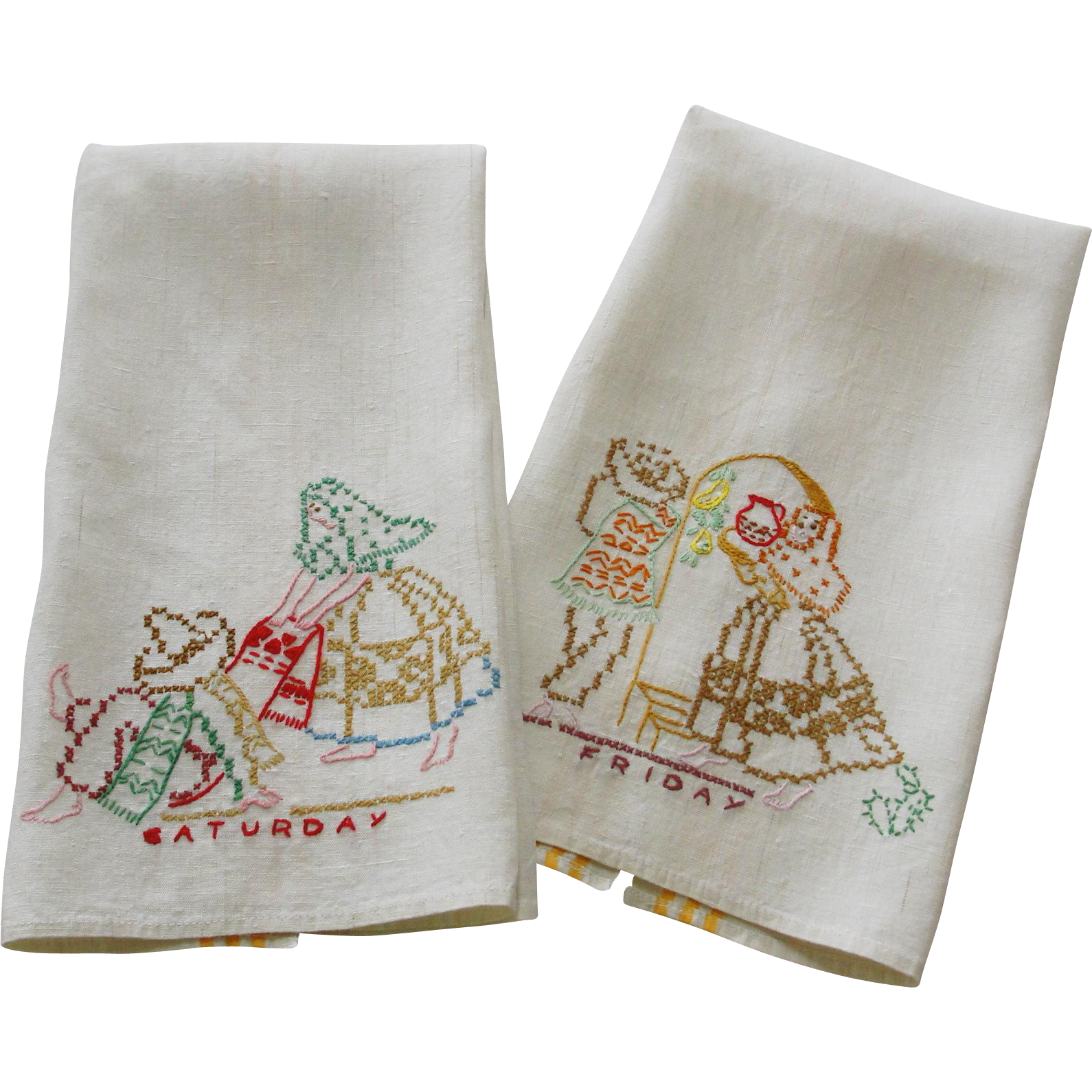 Two Linen Towels Mexican Theme Hand Embroidery