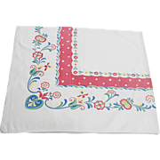 Colorful Vintage Cotton Tablecloth 62 x 52