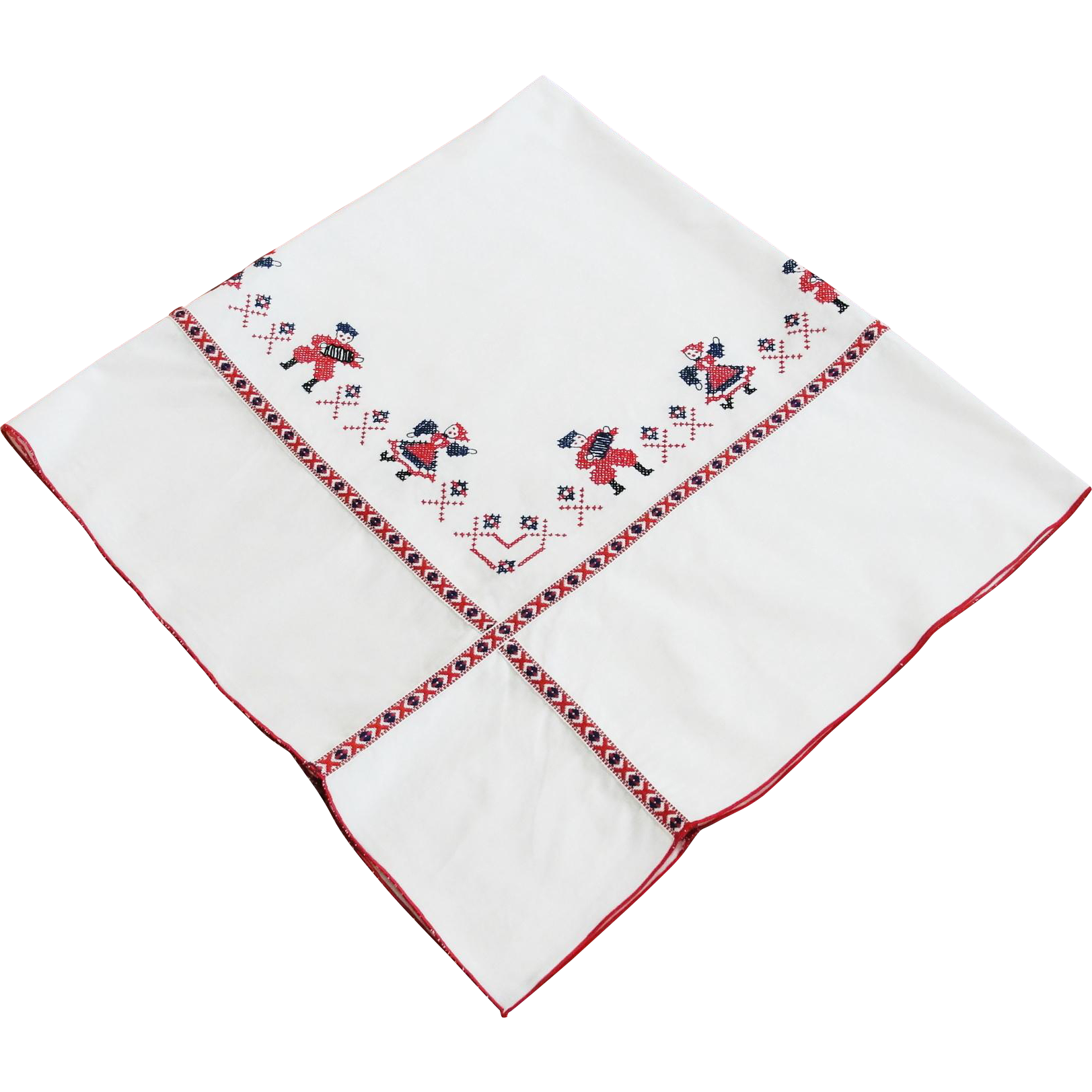 Vintage Red White Blue Embroidered Tablecloth 51 x 48