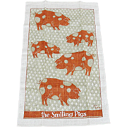 Vintage Linen Kitchen Towel the Smiling Pigs