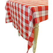 Vintage Red and White Checked Tablecloth 112 x 44