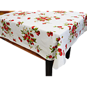 Vintage Wilendur Cotton Tablecloth Strawberries