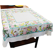 Vintage Kitchen Theme Mid Century Cotton Table Cloth 52 x 46