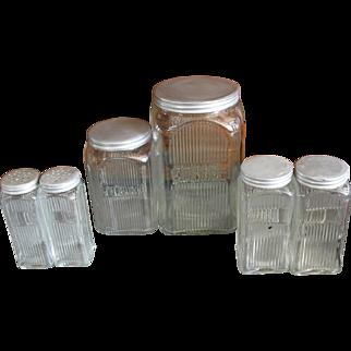 Vintage Hoosier Cabinet Jars Coffee Tea Spices