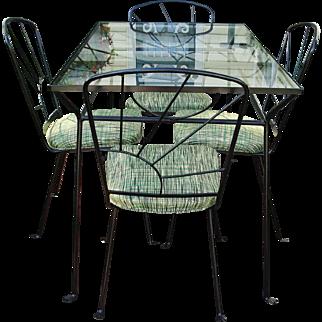 Mid Century Modern Wrought Iron Patio Set