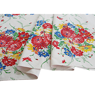 Vintage Floral Printed Cotton Tablecloth 66 x 54