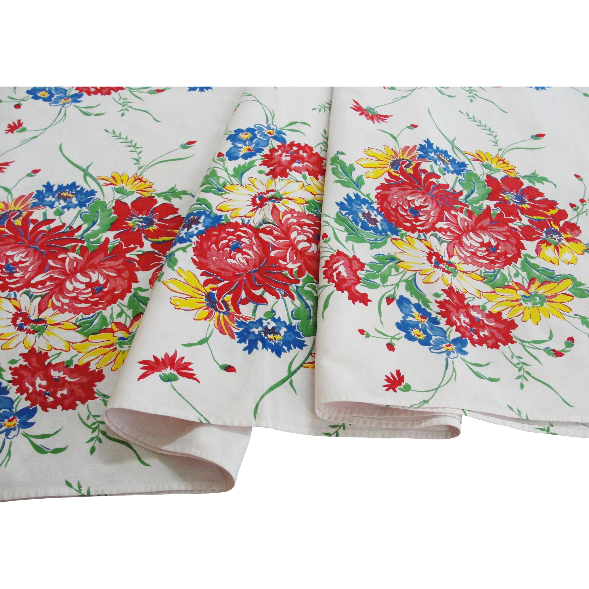 Vintage Floral Printed Cotton Tablecloth 66 x 54