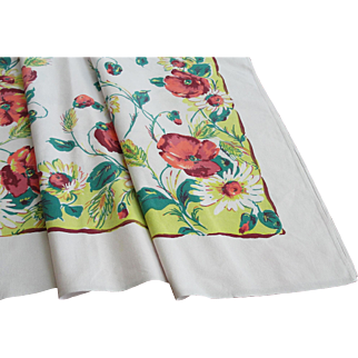 Vintage Startex Floral Printed Cotton Tablecloth 54 x 48