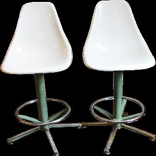 1960's Mid Century Modern Molded Fiberglass Stools Bar Stools