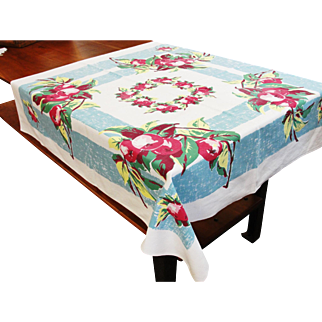 Vintage Cotton Printed Tablecloth Apples 46 x 50