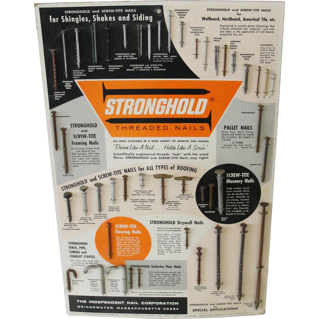 1961 Mid Century Vintage Hardware Store Display Stronghold Threaded Nails
